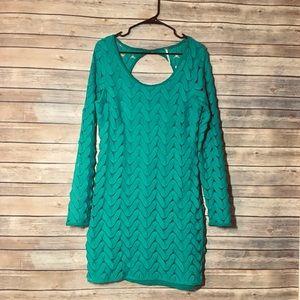 Free People Emerald Crochet Long Sleeve Dress